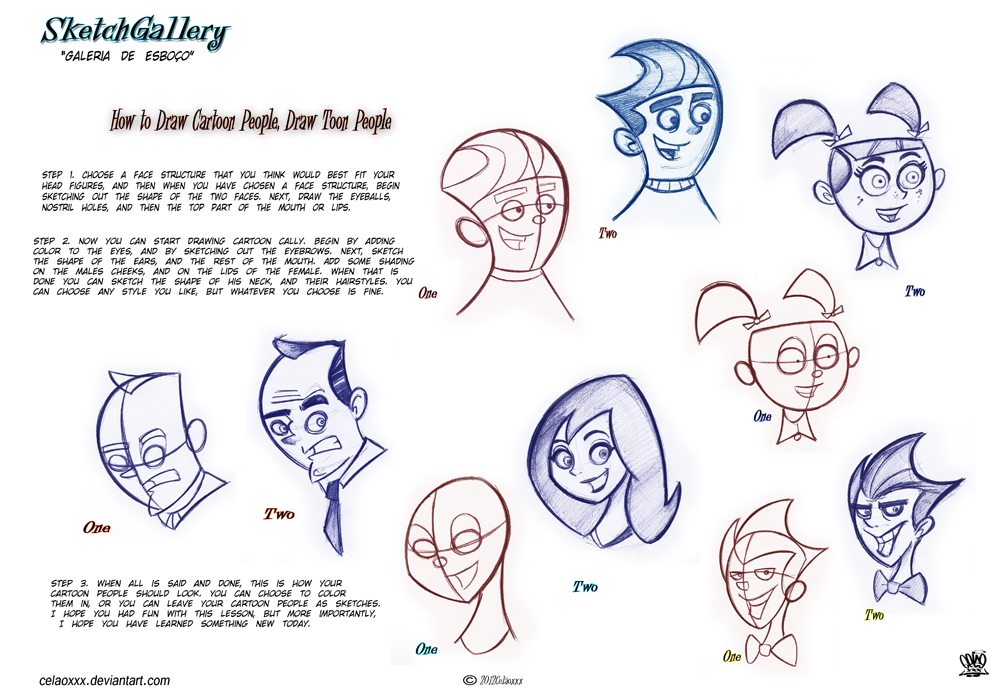 How to draw cartoon people draw toon people by celaoxxx on for Cartoon body tutorial
