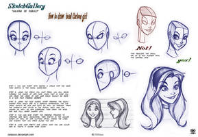 How to draw head Cartoon Girl