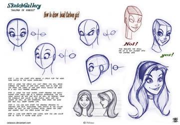 How to draw head Cartoon Girl