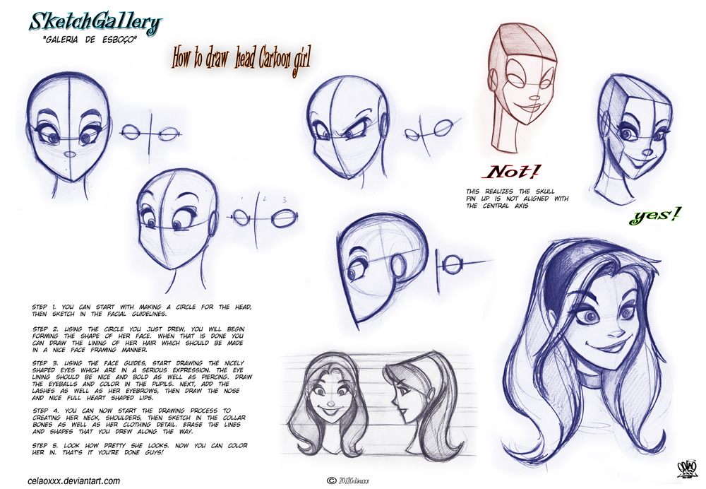 How To Draw Head Cartoon Girl By Celaoxxx On Deviantart