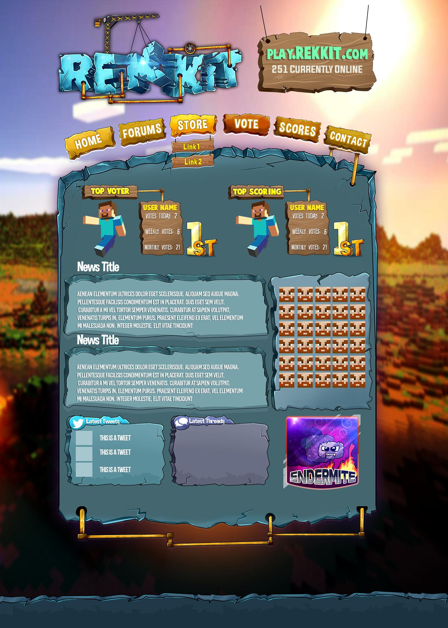 minecraft server website design by totallyanimated on deviantart. Black Bedroom Furniture Sets. Home Design Ideas