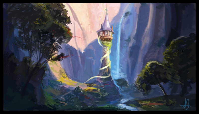 Tangled Tower Painting By Nataliebeth On Deviantart