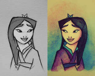 Mulan (Pencil Sketch vs. Watercolour) by nataliebeth