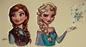 Digital Painting - Frozen - Anna and Elsa