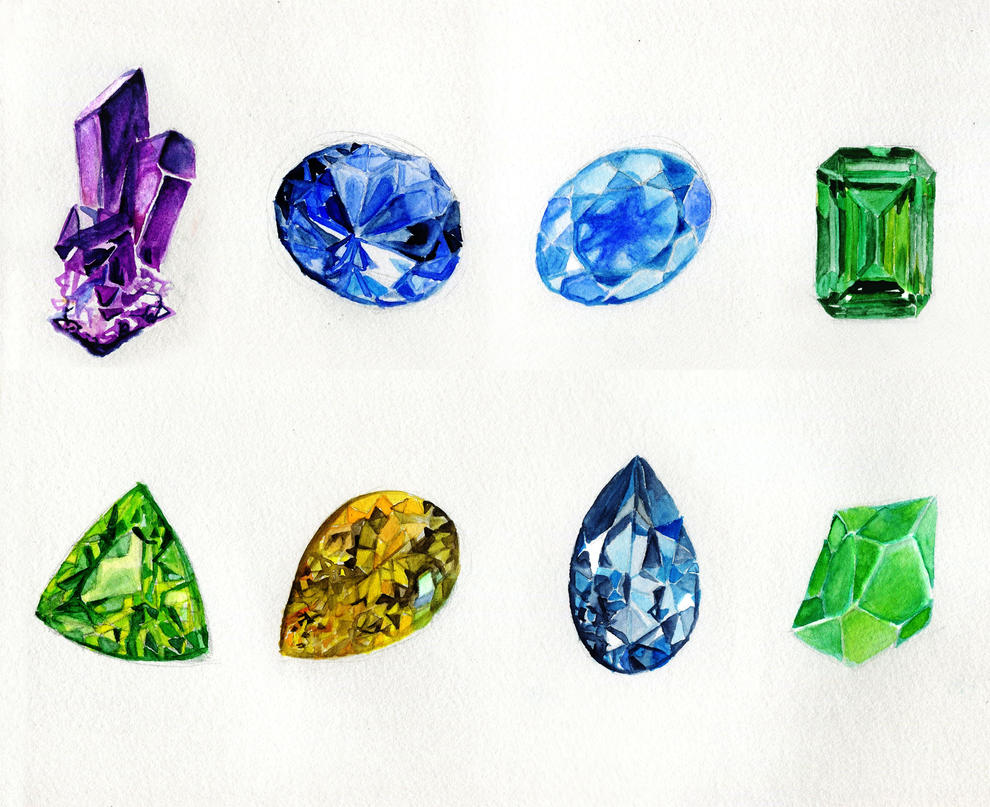 Watercolour Painted Stones by nataliebeth