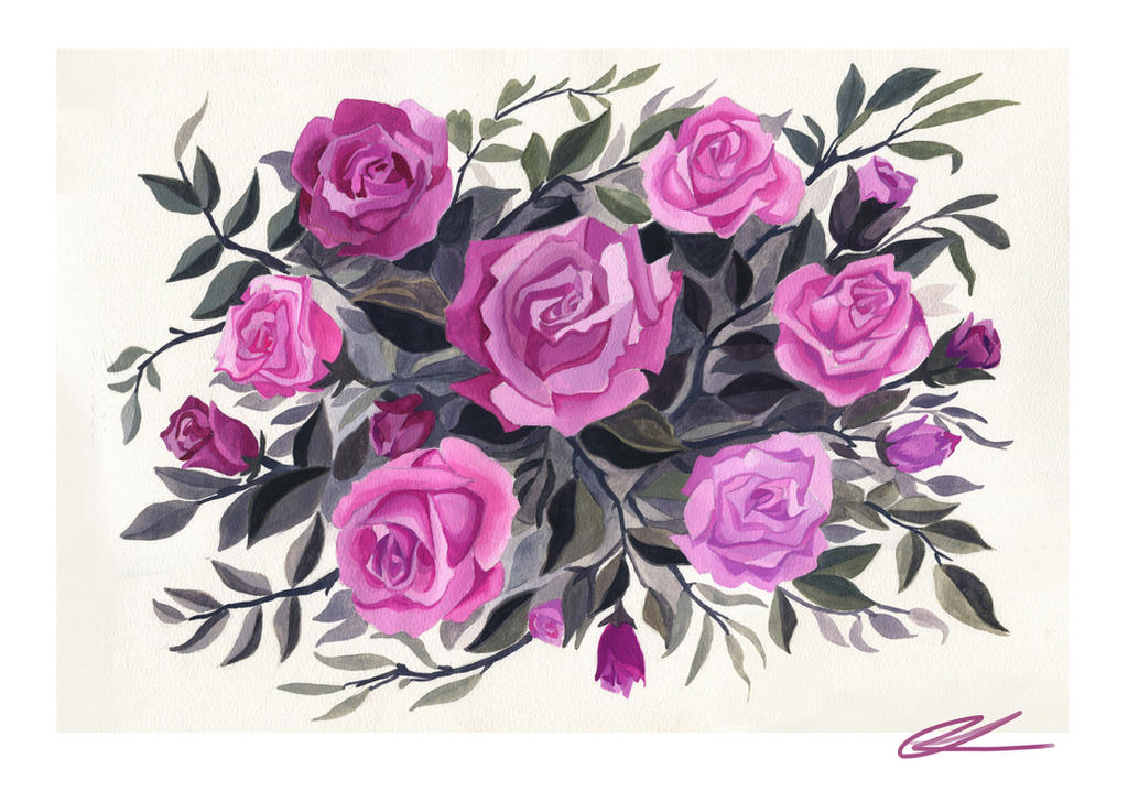 Gouache Rose Painting by nataliebeth