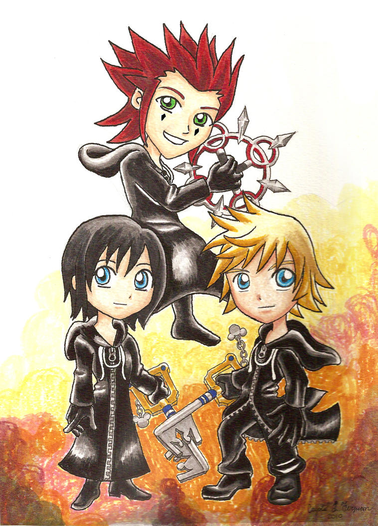 Xion And Roxas And Axel Chibi Roxas Axel And Xion by