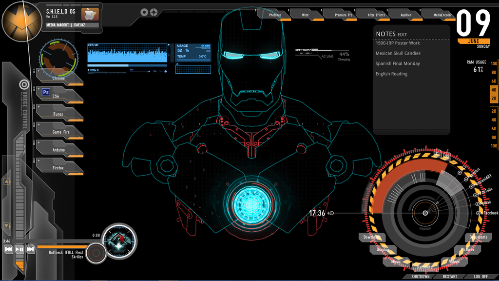 Rainmeter theme iron man by taikunfoo on deviantart for Deviantart rainmeter