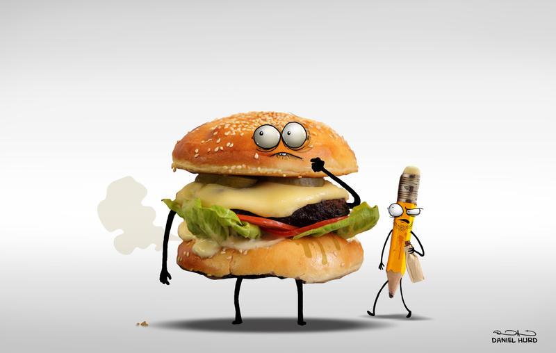 Burgery and hobo pencil by DanielHurd