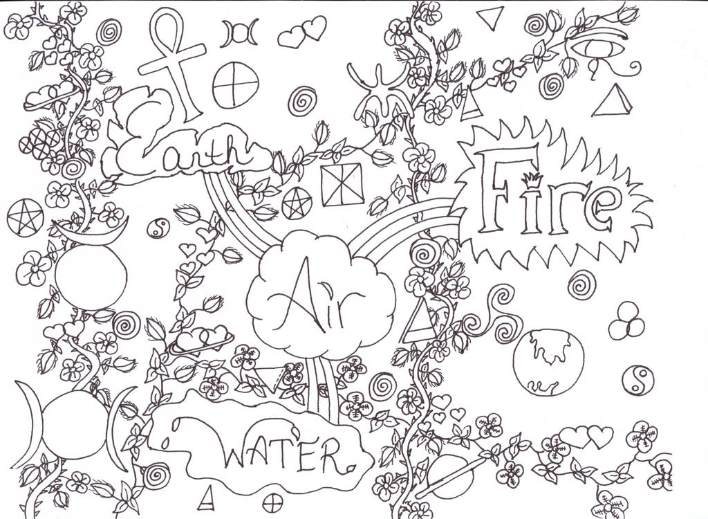 Elements Coloring Page by Darkened94Child