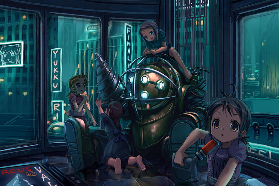 Bioshock-Lil Sisters and Daddy by kaybabe300