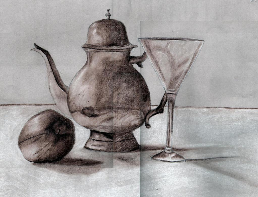 Conte Drawing Still Life