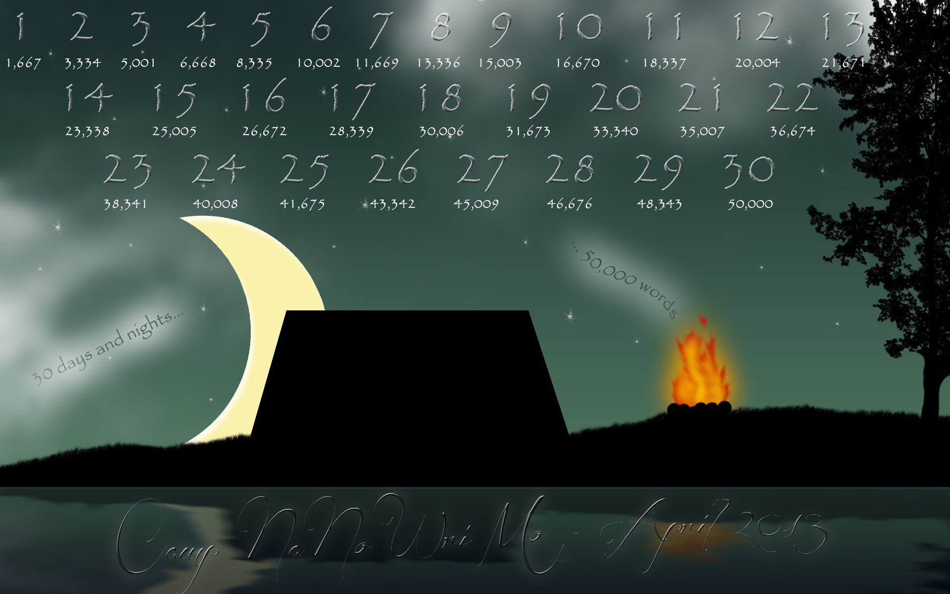 2011 Nanowrimo Calendar Wallpaper - surlymuse