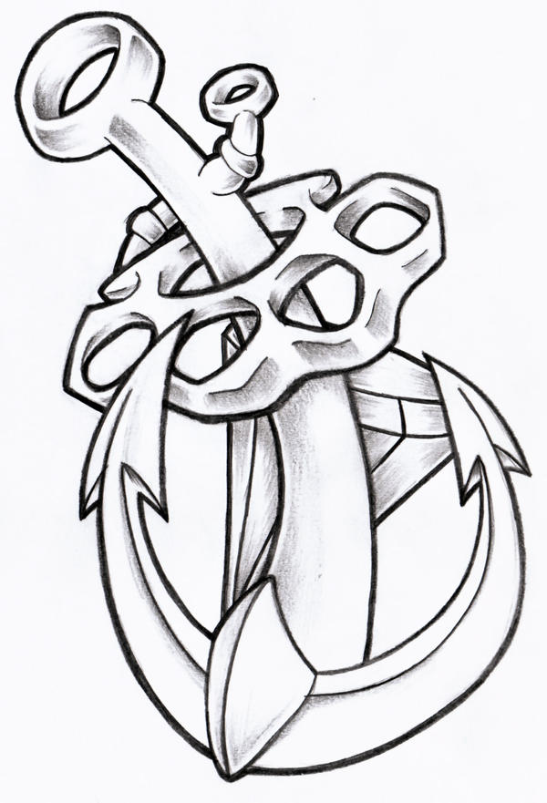 Anchor  Knuckles and Diamond New School Anchor Drawing