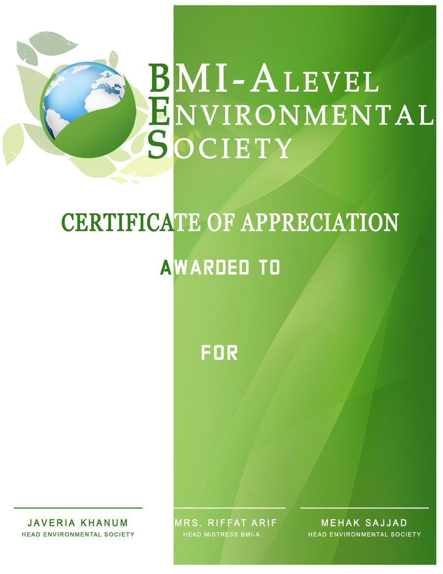Certificate Design For Environmental Society By Ze3ko Certificate Design  For Environmental Society By Ze3ko  Creative Certificate Designs