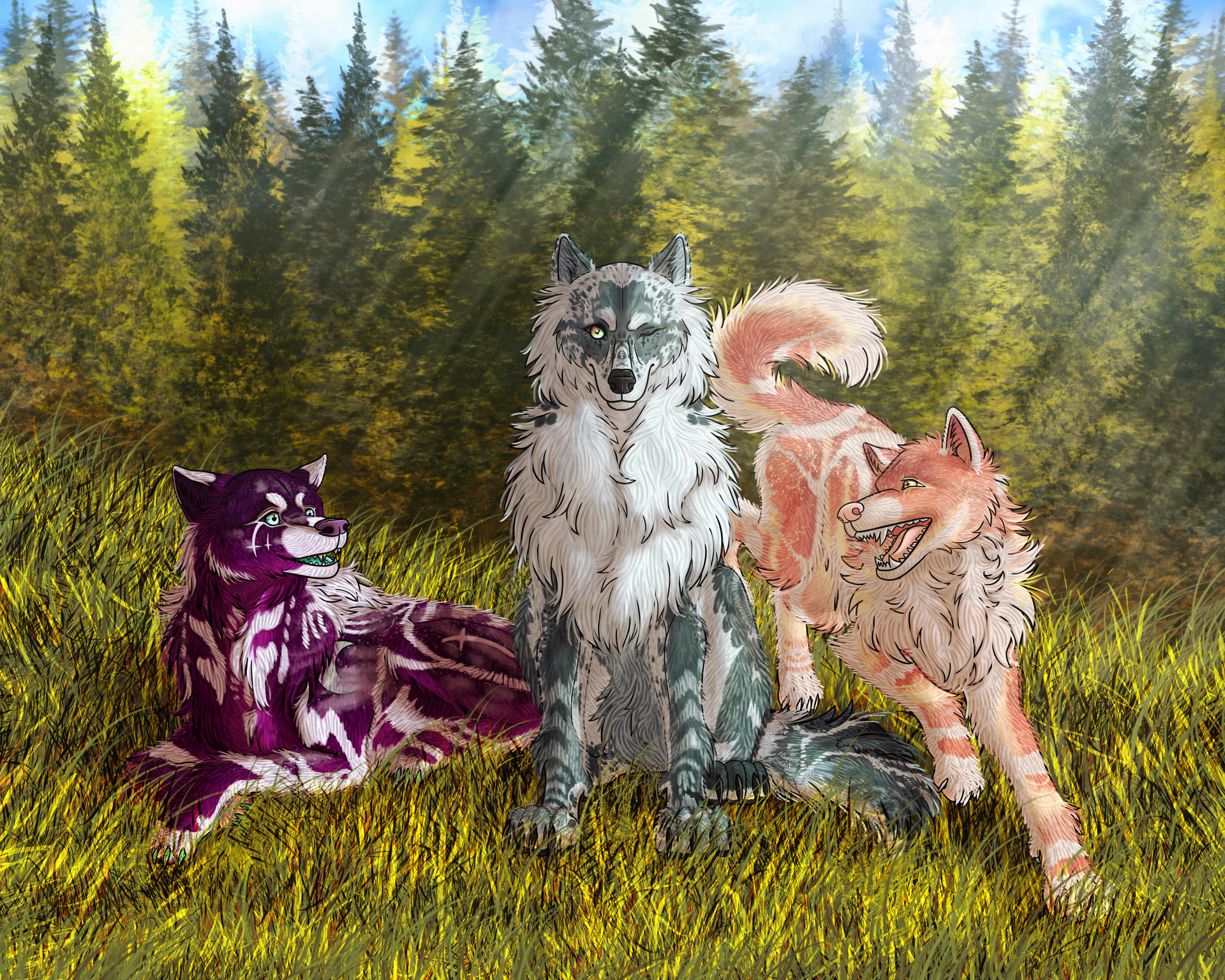 Alyna, Storm and Thea in the Forest