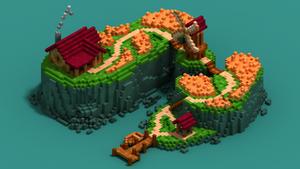 Farming island isometric voxel art