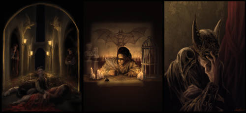 Renaissance Batman Tryptic by cinemamind