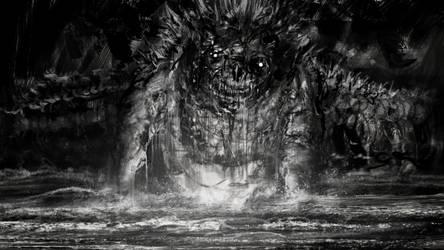 Godzilla rising from the sea to punish humanity