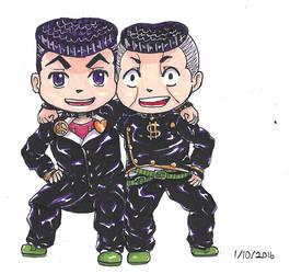 Chibi Josuke and Okuyasu by Usachii