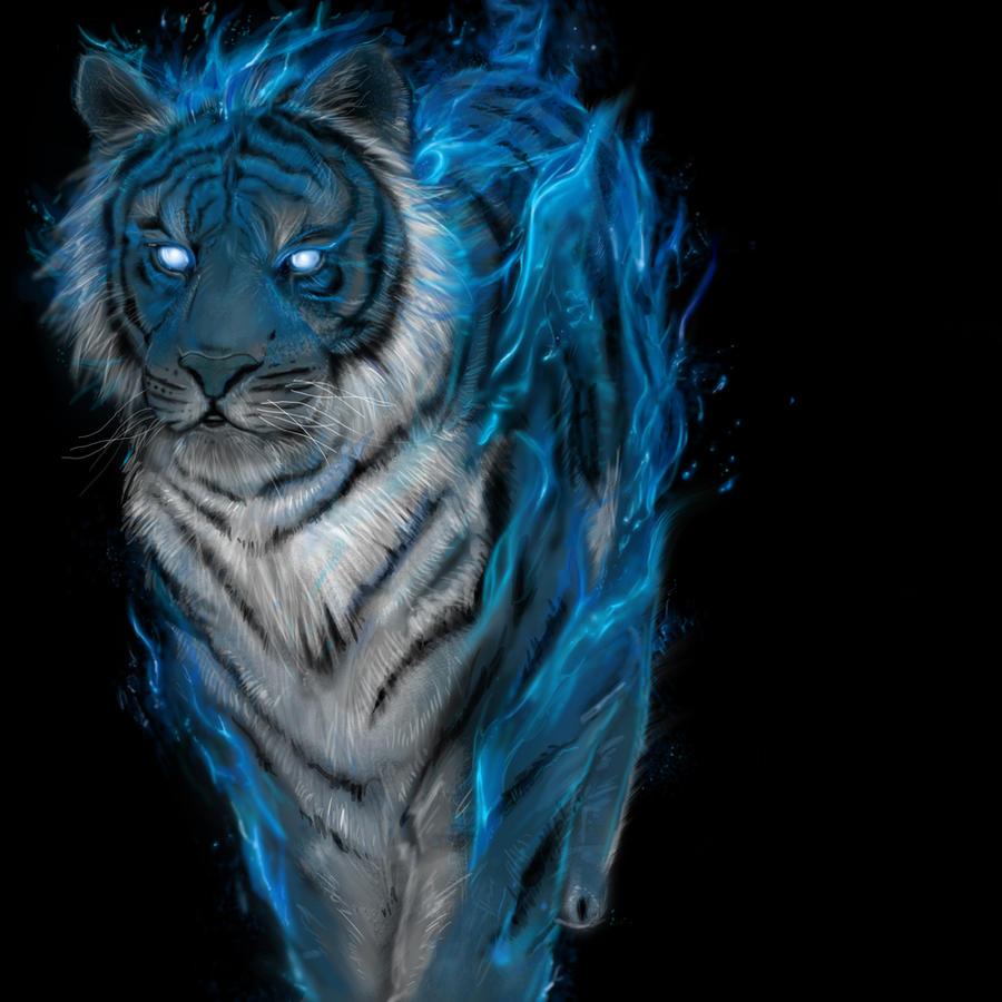 Blue Fire Tiger Wallpaper