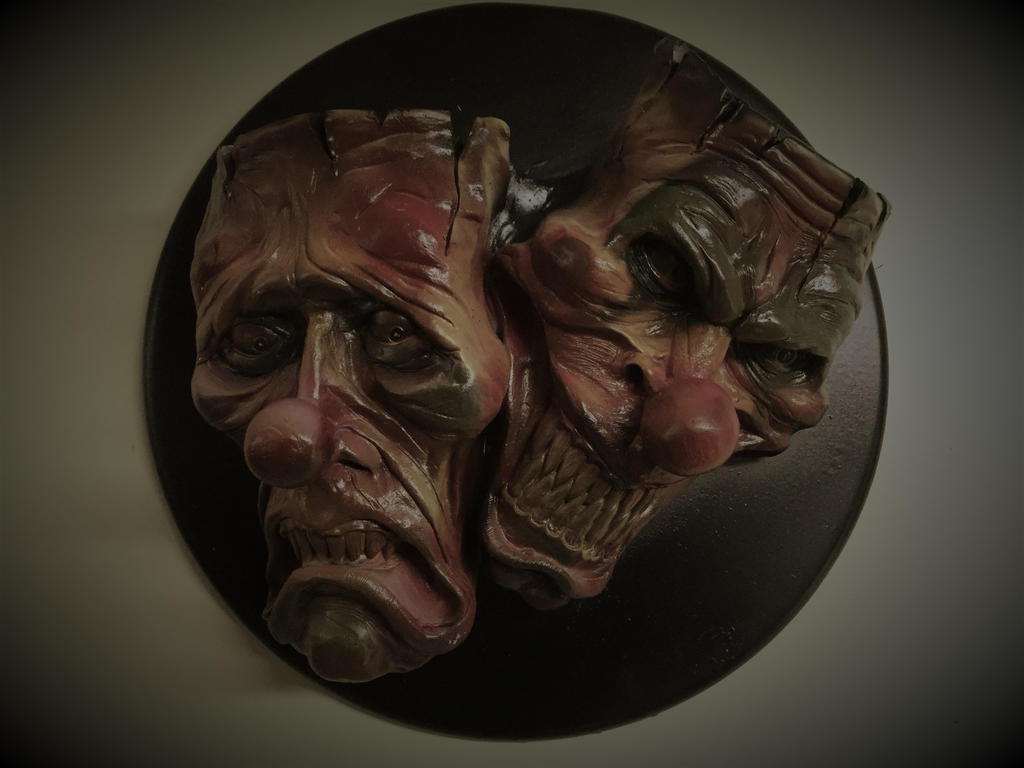Evil Clown Comedy and Tragedy Wall Plaque by Blairsculpture