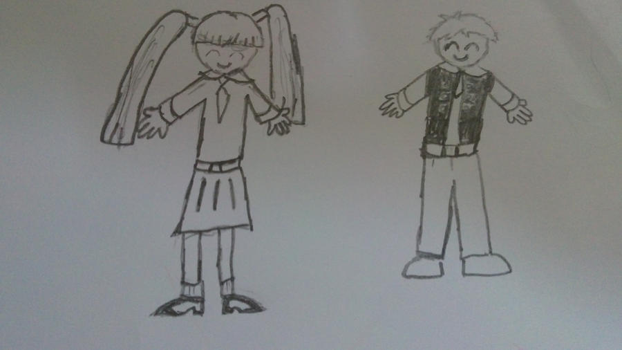 My drawing of a boy and a girl by ShinyAurora
