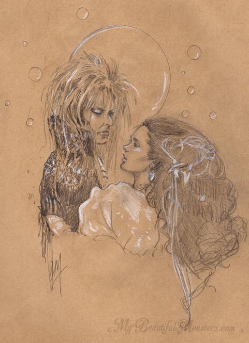 Labyrinth - Jareth and Sarah Sketch by MyBeautifulMonsters