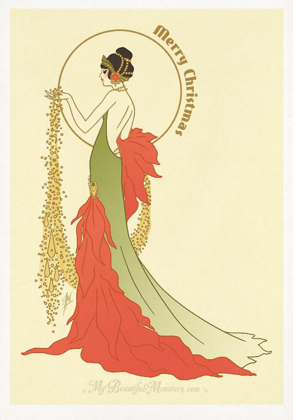 Poinsettia Art Deco Christmas Card 2016 By Mybeautifulmonsters On