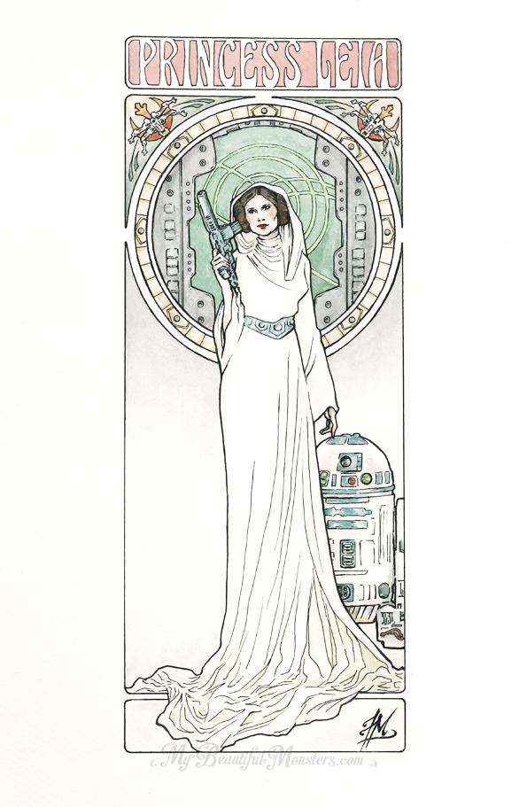 Princess Leia Art Nouveau by MyBeautifulMonsters