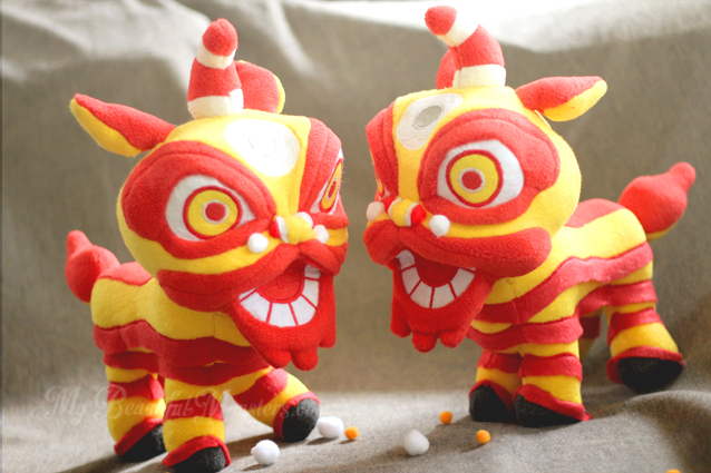 Red + Gold Wedding Lion Dance Plushies by MyBeautifulMonsters