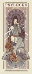 Psylocke Art Nouveau Print by MyBeautifulMonsters