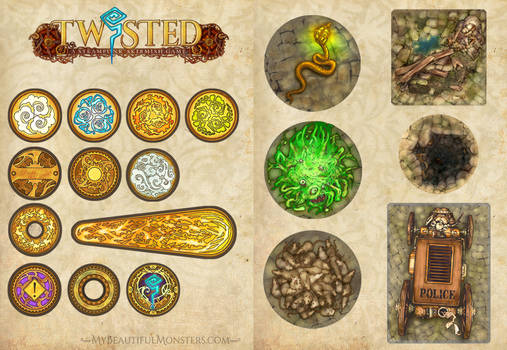 'Twisted' Steampunk Game Counters + Tokens