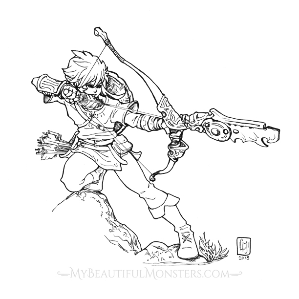 Link Breath of the Wild Ink Drawing by MyBeautifulMonsters