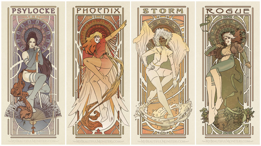 Art Nouveau Ladies of X-men by MyBeautifulMonsters