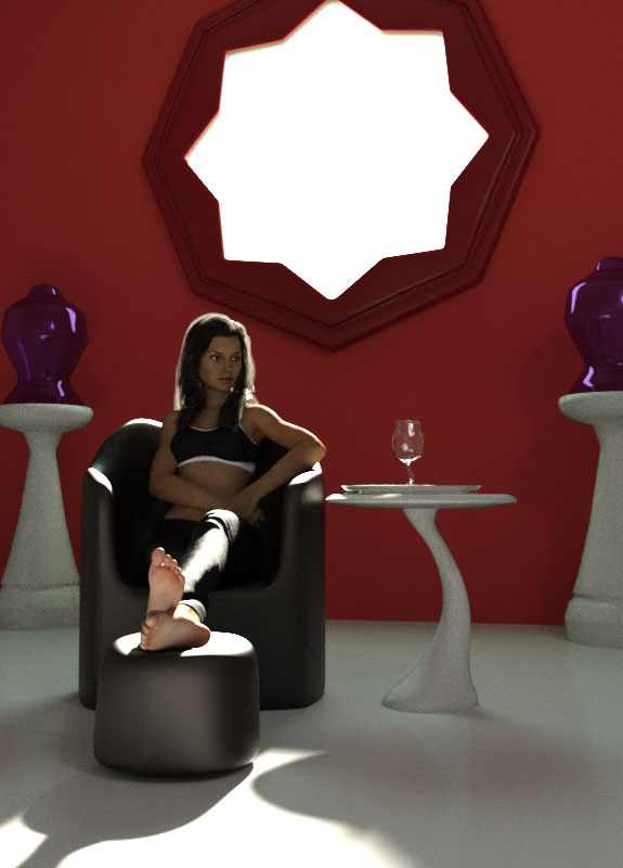"Victoria 7 rendered, sitting in the ""star room"" modeled in lightwave."