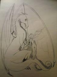 Dragon with friend by NanopanoGusano