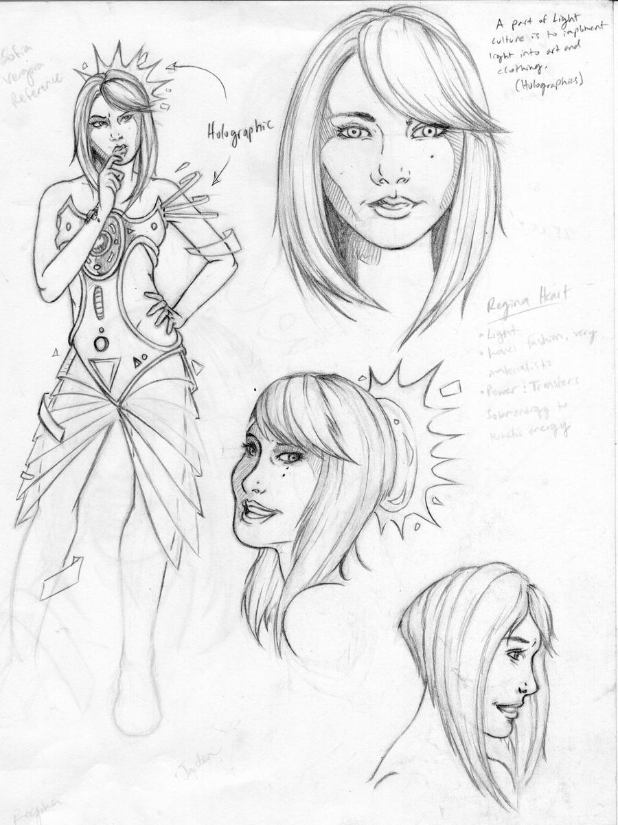 Character Design Concept Sketches : Regina heart character concept sketch by nightmareempire