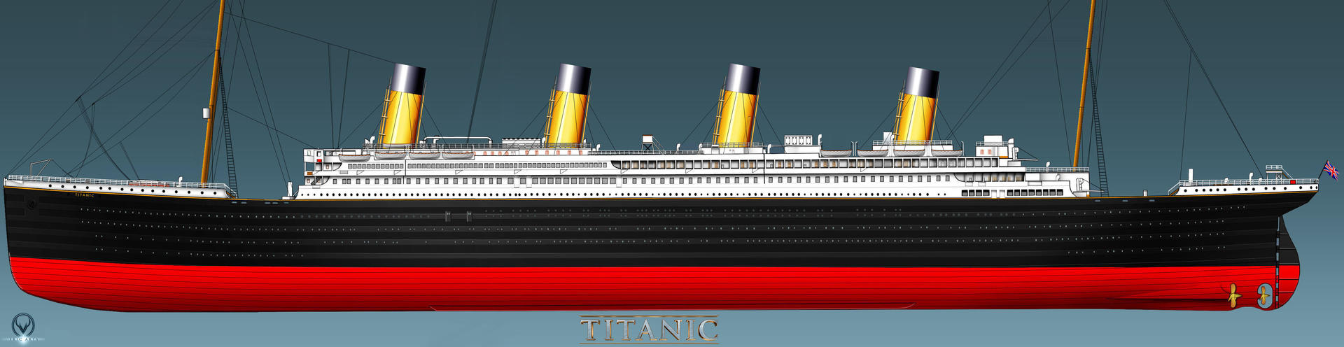 Rms Titanic Port Side Profile Complete By Eric Arts Inc On