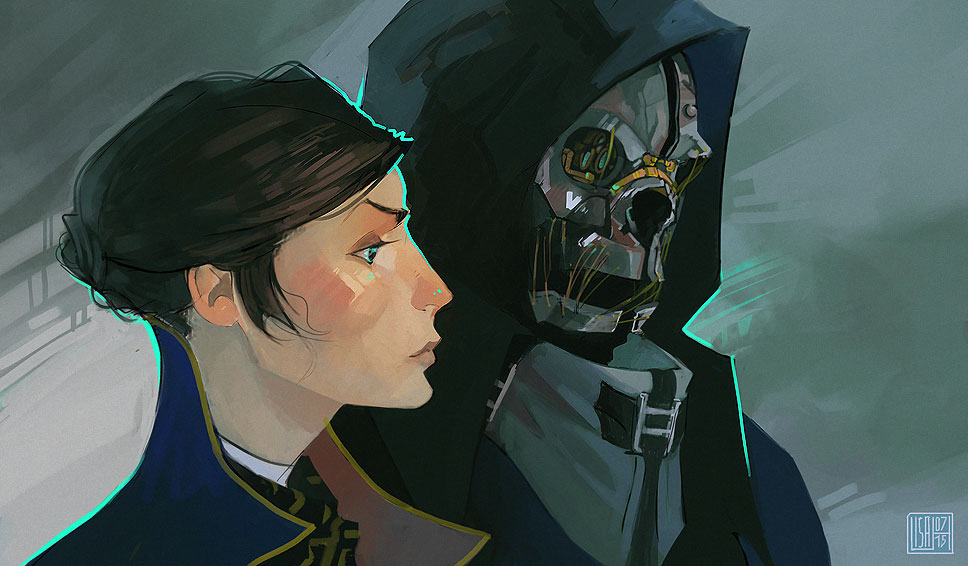 Corvo and Emily by Nacre-Headphones