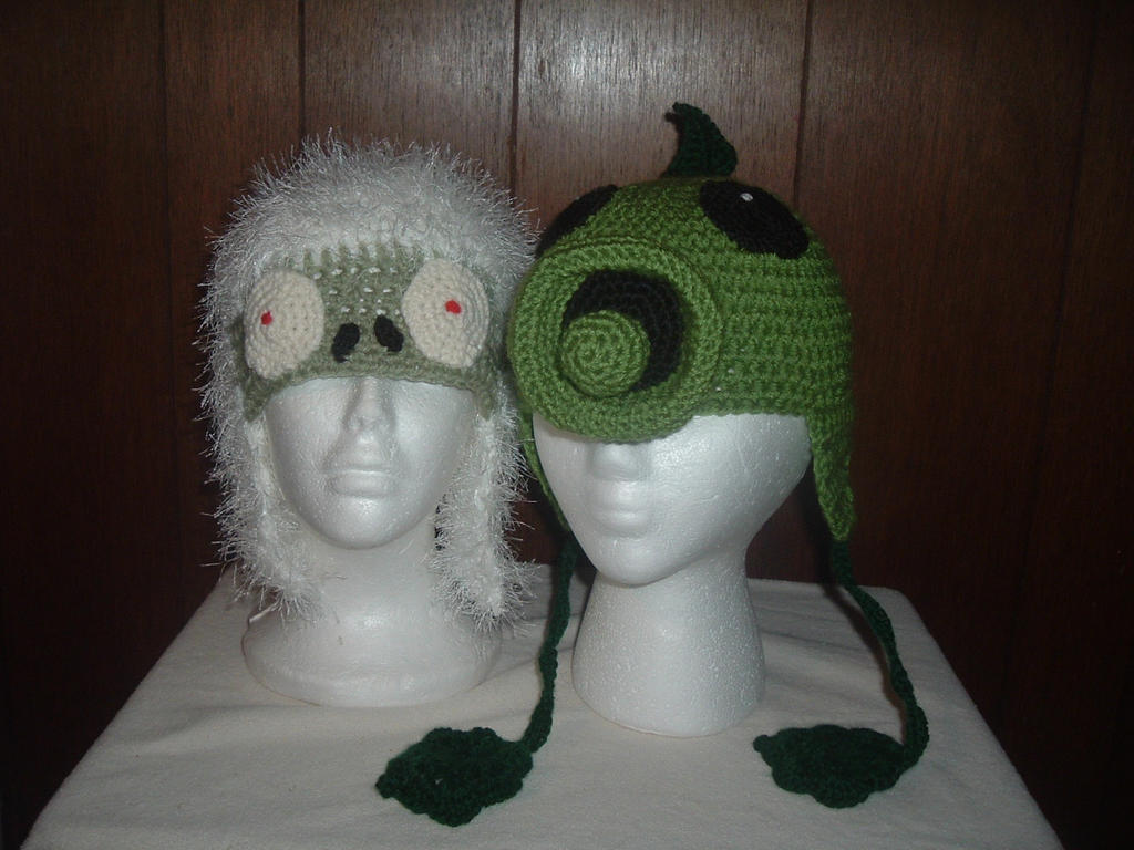 Plants Vs Zombie Pea Shooter and Zombie Yeti hats by Nanettew9