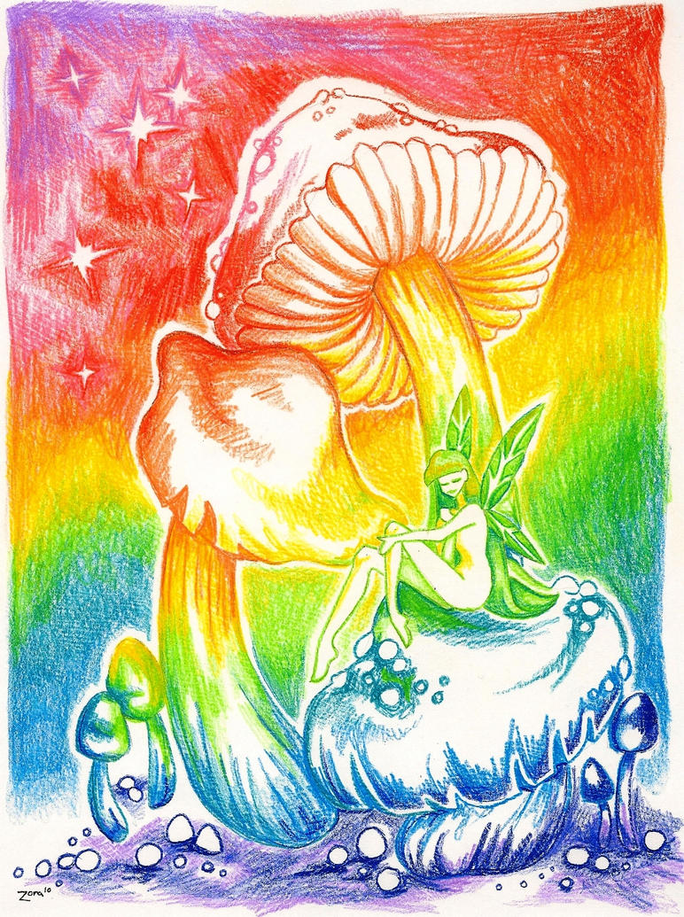 Rainbow mushroom fairy by ladyzoragirl on deviantart for Fairy on a mushroom drawing