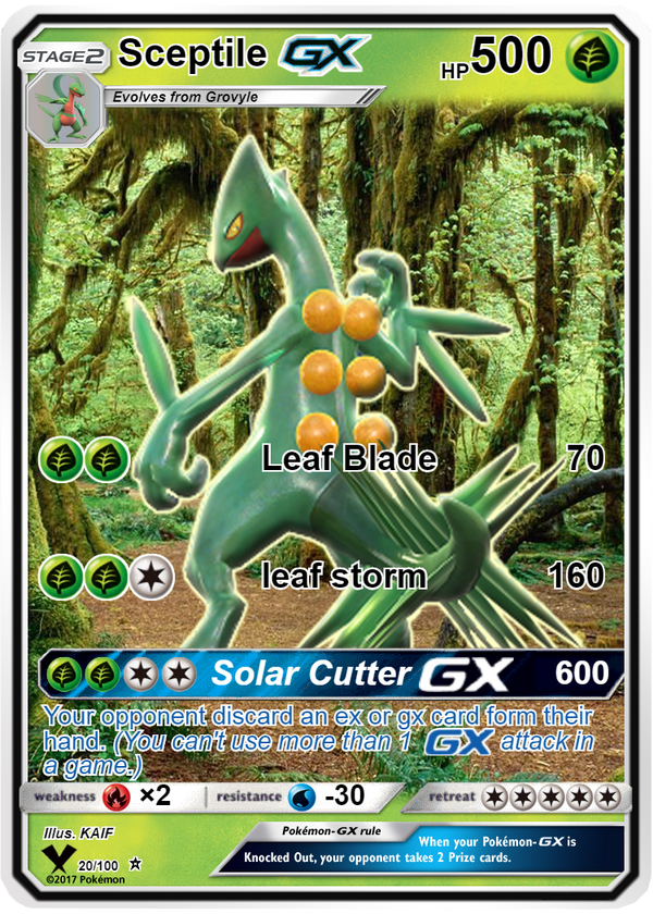 pokemon custom sceptile gx card by pokemon card creator on deviantart