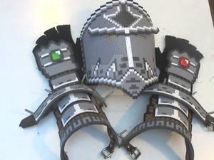 Perler Armor - Helmet, Vambraces, and Gauntlets