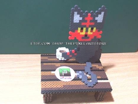 Pokemon Sun/Moon Litten 3D Perler Diorama