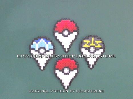 Pokemon GO MINI Perler Logo Badges
