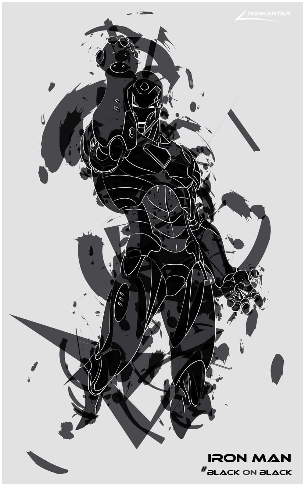 Black Man Ironing Iron Man Black on Black
