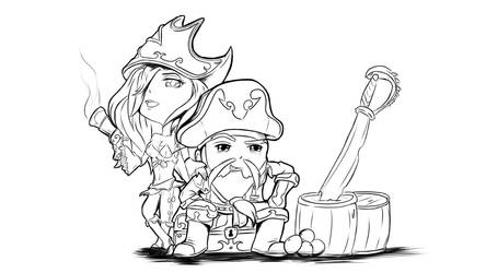 Chibi MF and GP LINEART by JayCrest