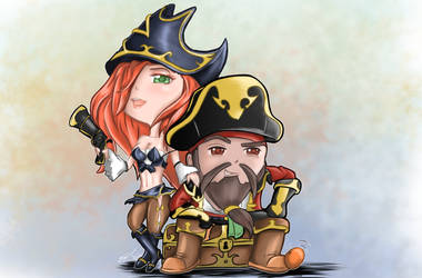 Chibi: Captain Gangplank and Miss Fortune by JayCrest