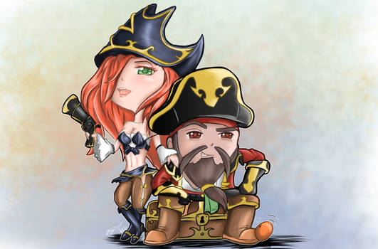 Chibi: Captain Gangplank and Miss Fortune